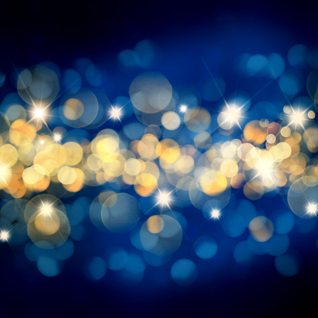 Blue and Gold Twinkling Lights