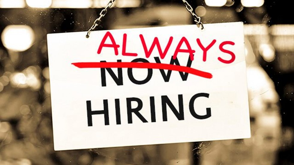 Now Hiring - Crossed out to say Always Hiring